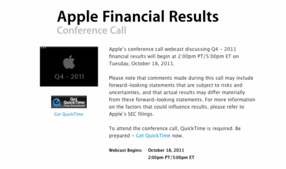 Apple dördüncü çeyrek performansını 18 (19) Ekim'deki telekonferansta açıklayacak