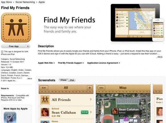 iOS 5 ile çalışan Find My Friends uygulaması App Store üzerinden yayınlandı