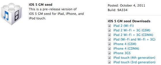 Apple iOS 5 Golden Master sürümünü yayınladı