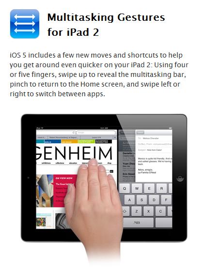iOS 5'in çoklu görev hareketleri yeniliği sadece iPad 2 için mi?