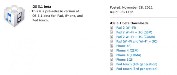 Apple iOS 5.1'in ilk beta sürümünü yayınladı