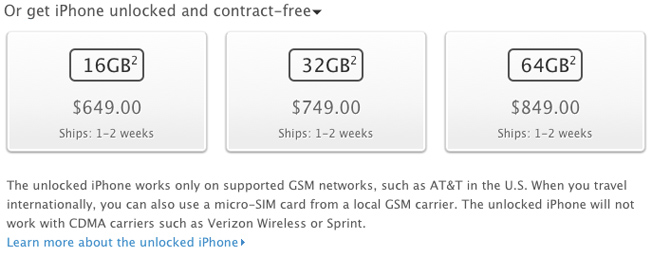 Apple ABD'de SIM kilitsiz iPhone 4S satışına başladı
