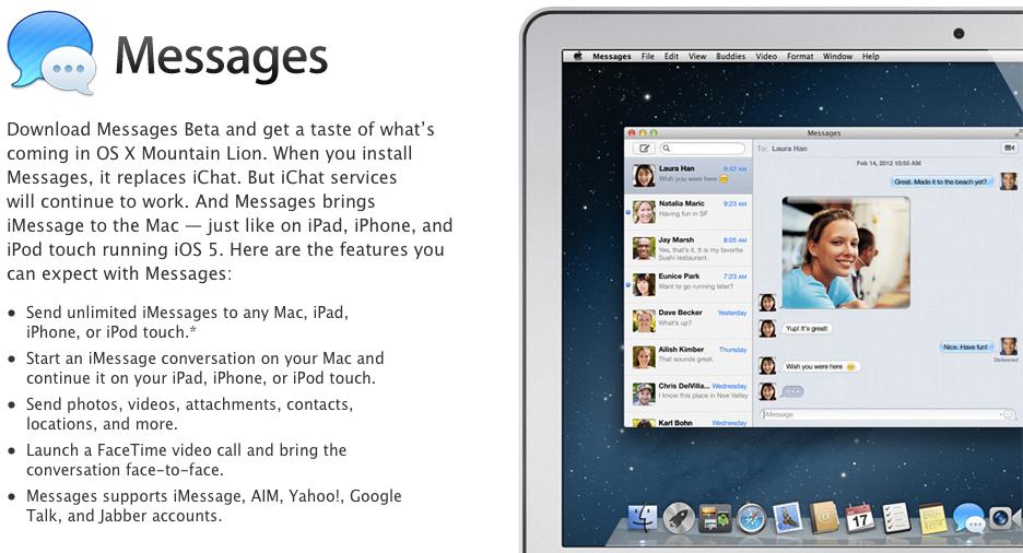 Apple OS X Mountain Lion ile gelecek Mesajlar uygulamasının beta sürümünü yayınlandı (güncellendi)
