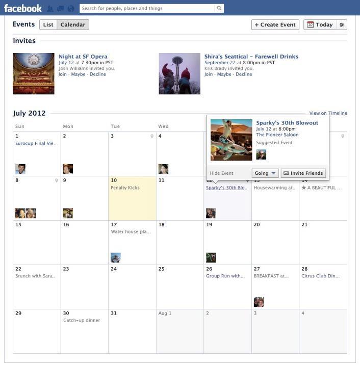 Facebook Etkinlikler sayfasını yeniledi, takvim görünümü ekledi
