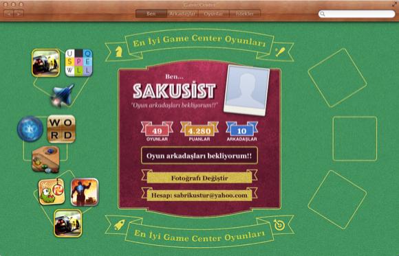 OS X Mountain Lion oyun tabanlı sosyal ağ Game Center'a kavuştu