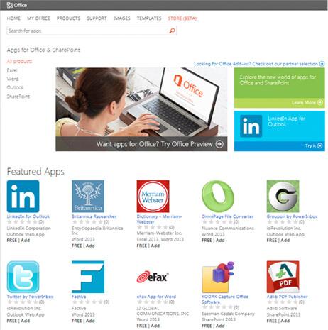 Microsoft'un Office Mağazası üretkenliği artırıcı uygulamalarla faaliyete geçti