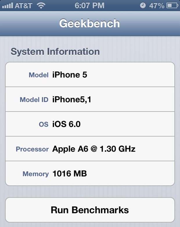 Geekbench benchmark uygulamasının yeni sürümü Apple A6'nın frekansını 1.3 GHz olarak sergiliyor