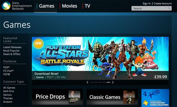 Sony filmler, tv programları ve PlayStation oyunları için web tabanlı mağazayı devreye soktu