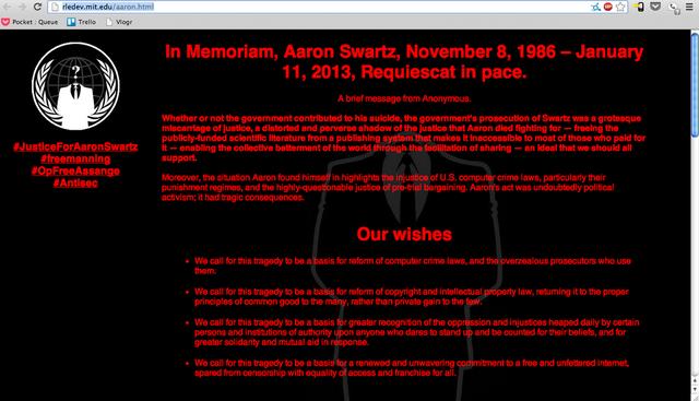 MIT'e ait web sayfalarına Aaron Swartz'ı anma metni yerleştiren Anonymous, telif hakkı reformu çağrısında bulundu