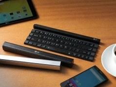 LG'nin yeni kablosuz klavyesi Rolly katlanarak bir cep çubuğuna dönüşebiliyor