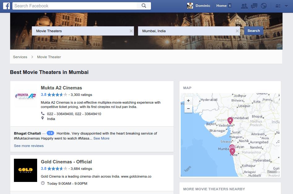 Facebook Yelp