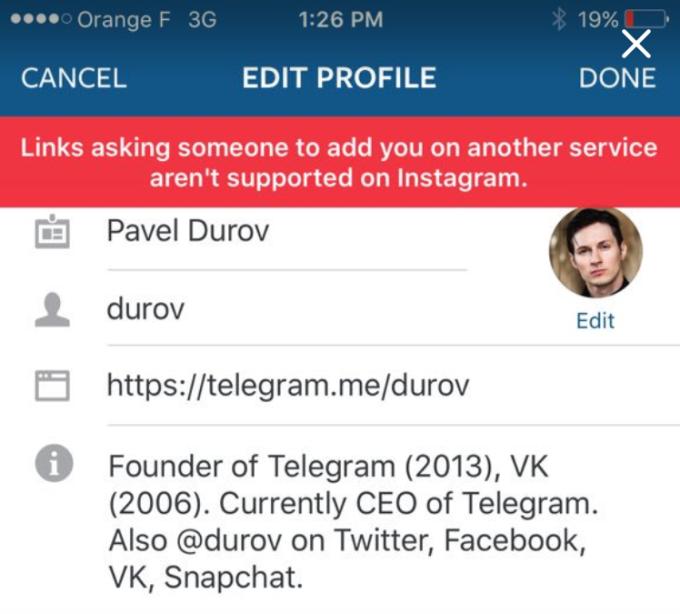 instagram kullanici profili telegram baglanti
