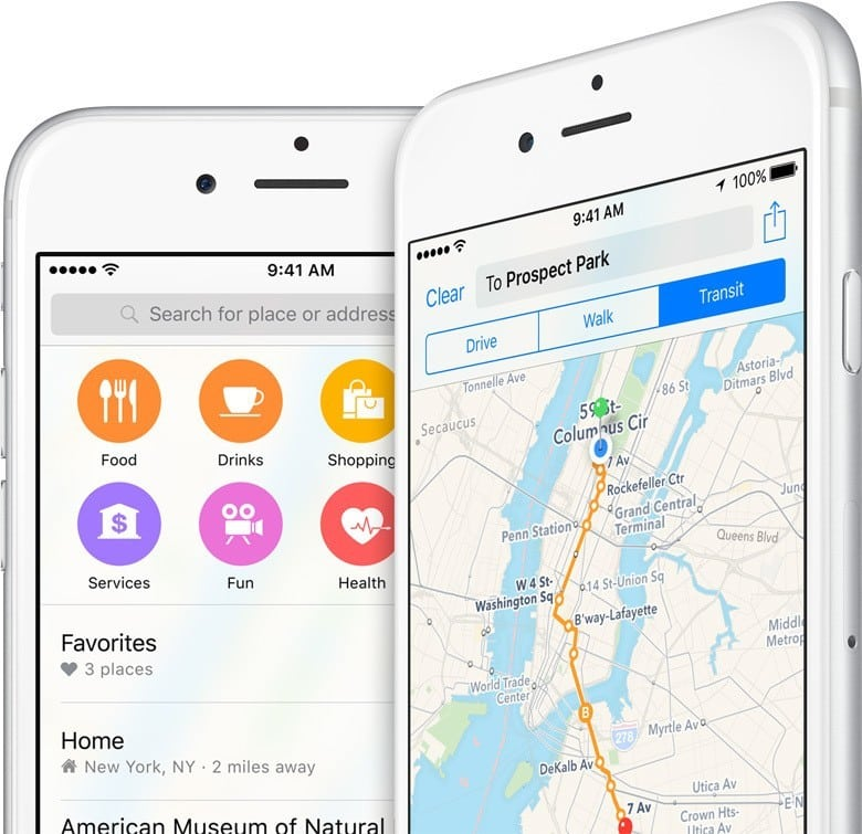 apple google haritalar