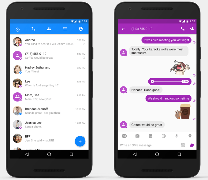 facebook messenger android uygulamasi sms