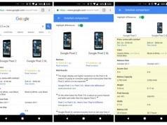Google arama sonuçları üzerinden cihaz özelliklerinin karşılaştırılmasını test ediyor