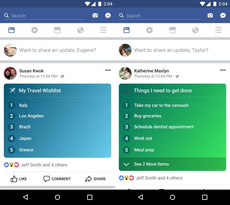 Facebook Listeler özelliğiyle yeni bir durum güncellemesi seçeneği sunuyor