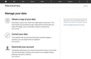 Apple gizlilik portalıyla kullanıcılarına veri indirme imkanı sunuyor