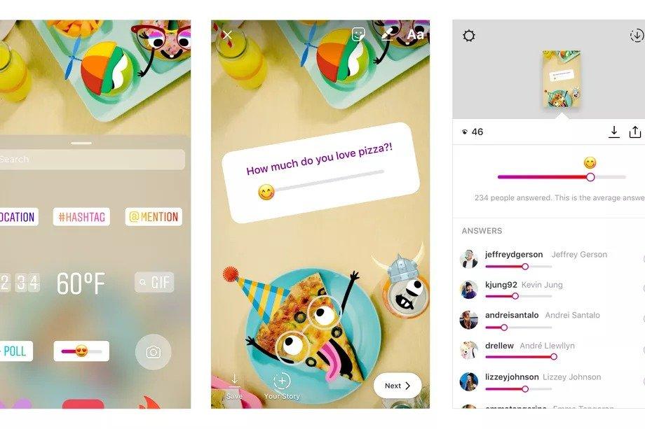 Instagram emoji kaydırgacı ile arkadaşlarınızın fikirlerini alın