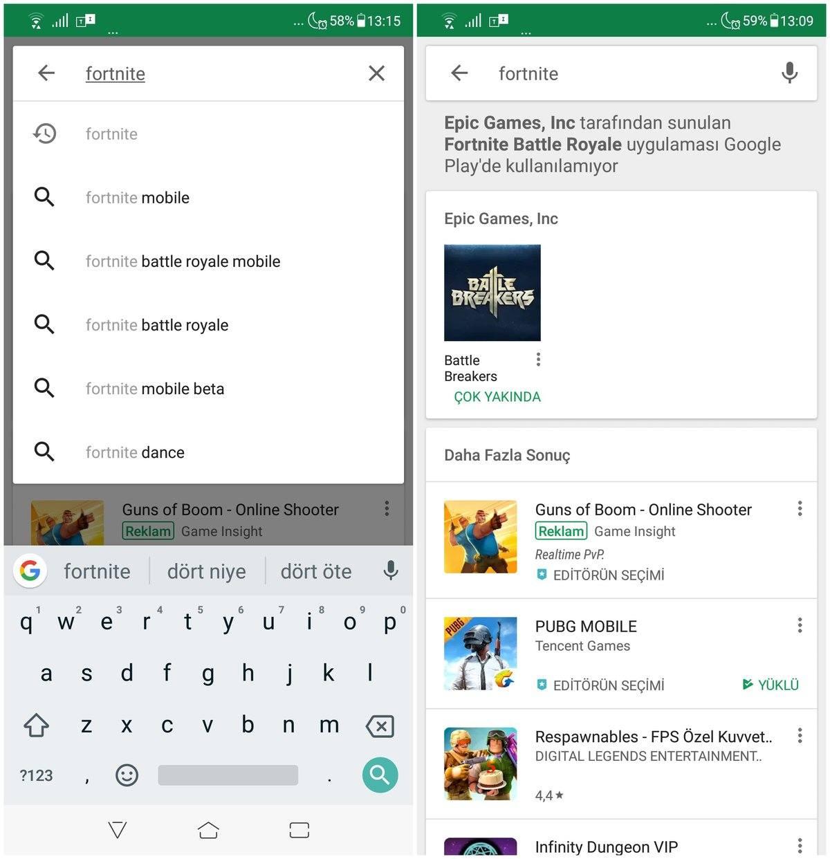 Google'dan Play Store'da Fortnite Battle Royale uyarısı