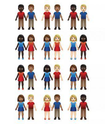 Çift emojileri için farklı cinsiyet ve cilt tonu birleşimi kullanılacak