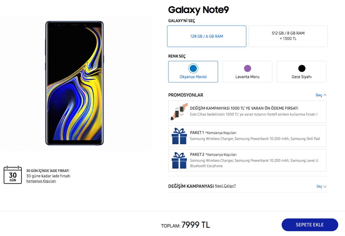 galaxy note 9 türkiye fiyatları