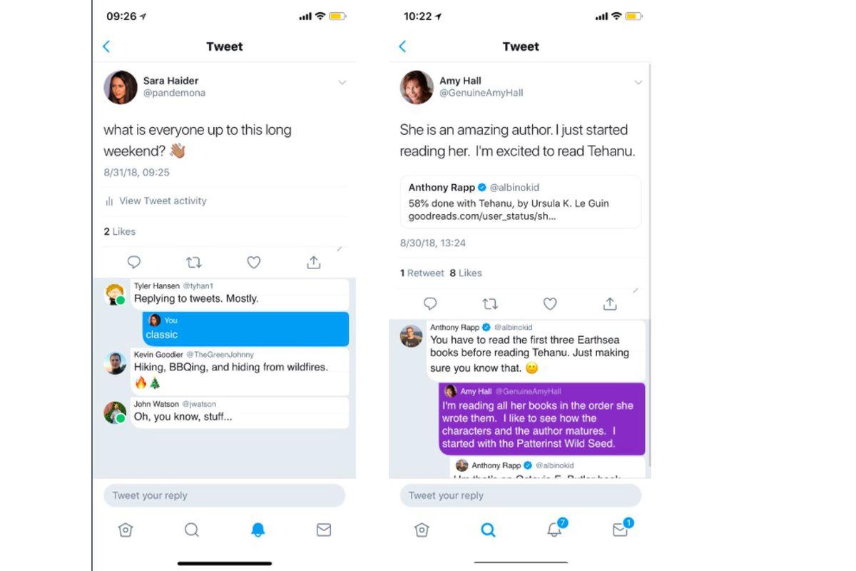twitter zincirlenmiş sohbetler ve durum göstergesi