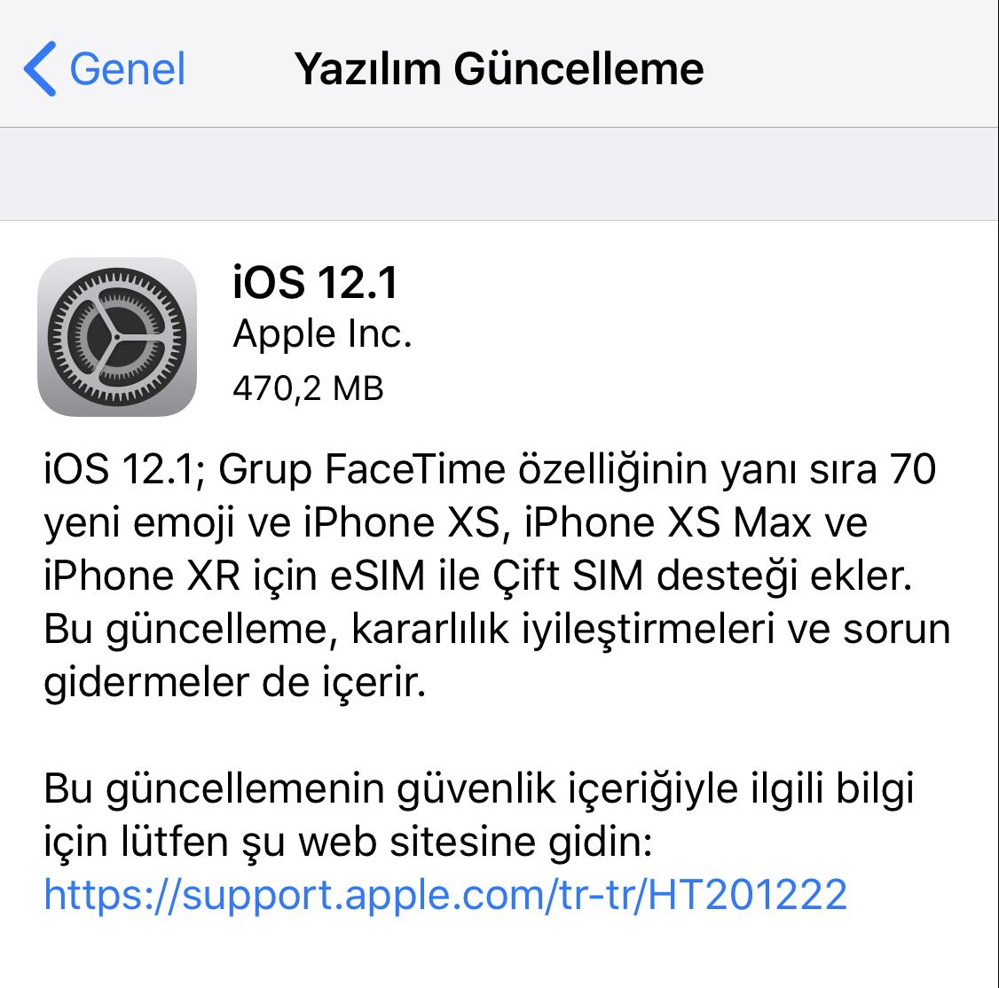 iOS 12.1 güncellemesi yayınlandı